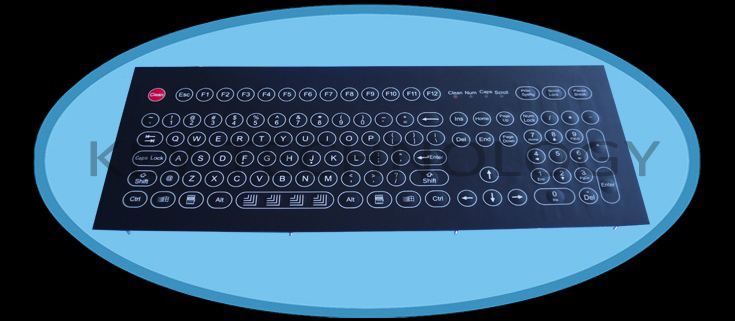 IP65 rated compact industrial membrane keyboard