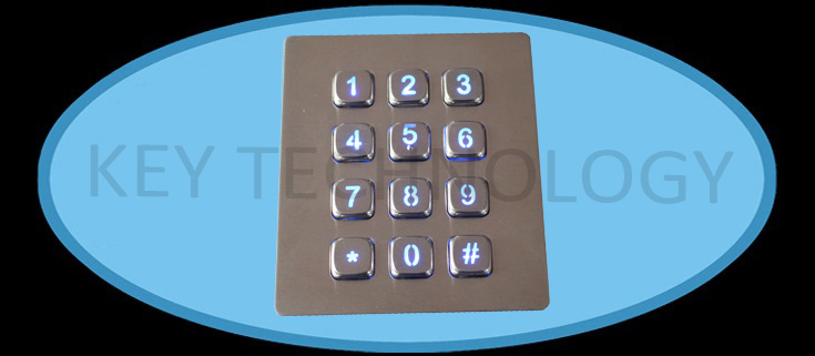 IP65 dynamic water proof and vandal proof Stainless Steel industrial keypad