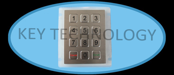IP67 dynamic vandal proof Stainless Steel industrial keypad