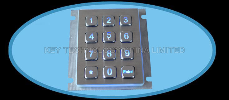 IP67 dynamic water proof and backlight stainless steel industrial keypad