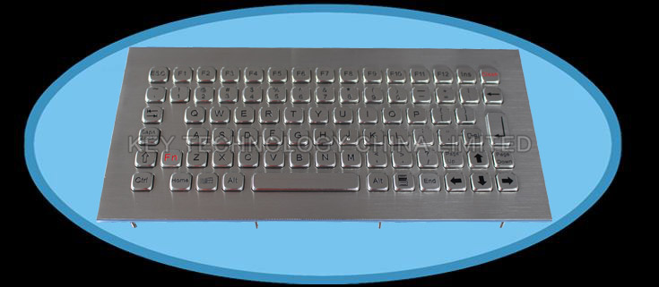 Compact format IP67 dynamic washable stainless steel industrial keyboard