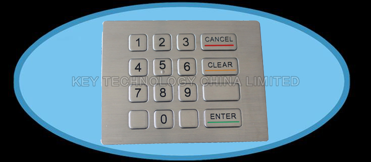 16 keys compact format IP67 dynamic water proof and vandal proof Stainless Steel industrial keypad